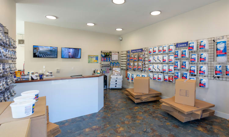Glacier West Self Storage in Kent, Washington, office interior and packing supplies for sale
