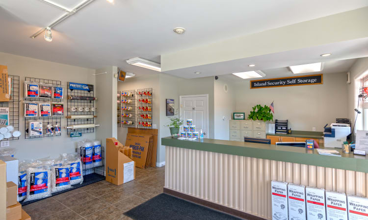 Rental office with packing supplies for sale at Island Security Self Storage in Vashon, Washington