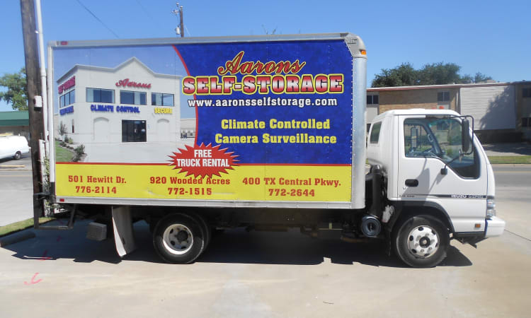 Aarons Self Storage 3 in Waco, Texas, offers moving truck rentals