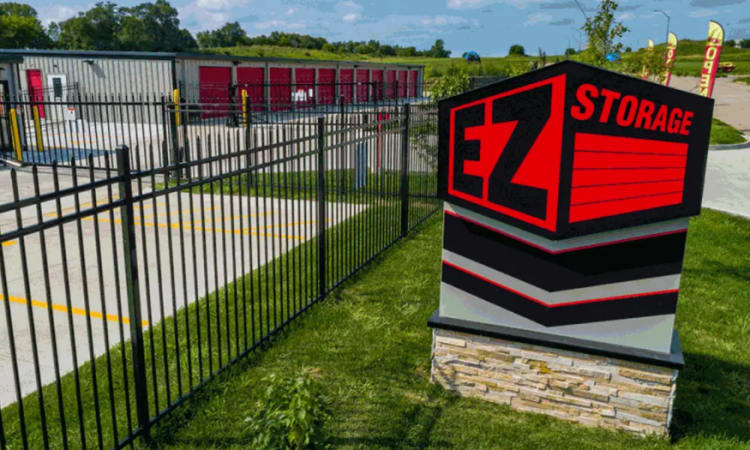 The front sign at EZ Storage in Des Moines, Iowa