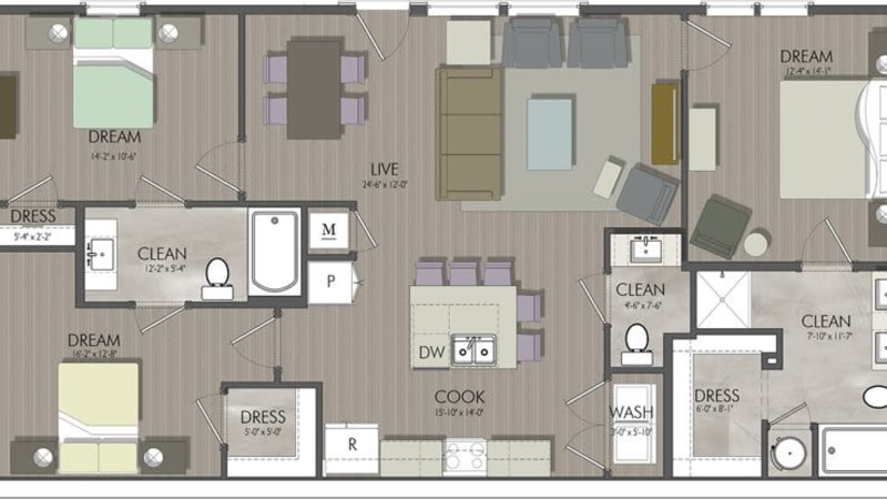 Open 3-Bedroom Apartment in Nashville, Tennessee at Rivertop Apartments