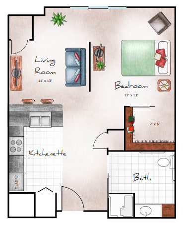 Studio, 655 SF NET floor plan