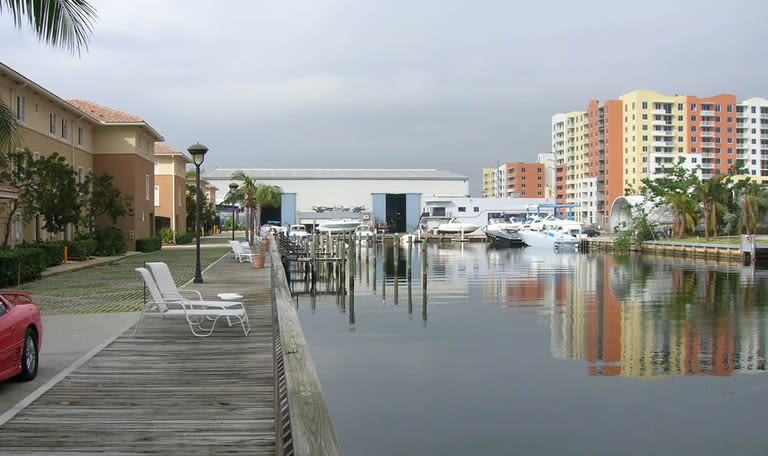 Lounge chairs on the dock at Aquamarina Hi-Lift in Aventura, Florida