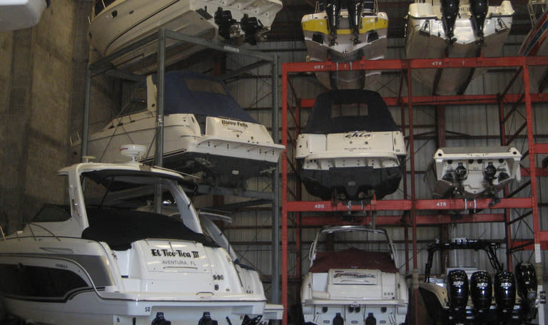 Stacked boats at Aquamarina Hi-Lift in Aventura, Florida