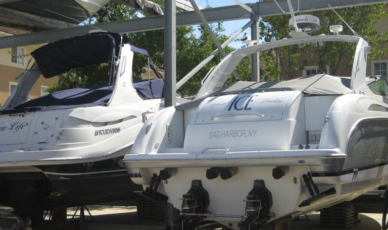 Dry docked boats at Aquamarina Hi-Lift in Aventura, Florida