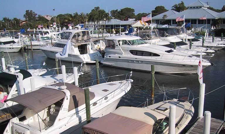 Boats docked at Aquamarina Palm Harbour in Cape Haze, Florida
