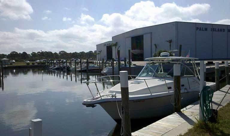 Boat moored at Aquamarina Palm Harbour in Cape Haze, Florida