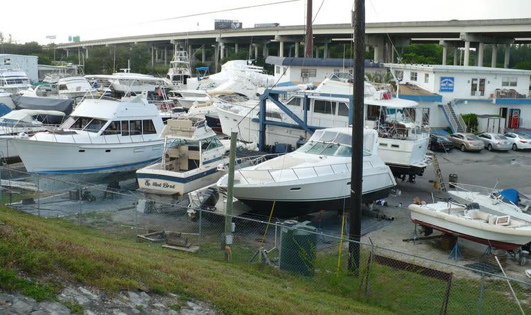 Boats docked at Marina Road Boat Yard in Ft. Lauderdale, Florida