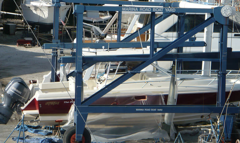 Boat on a lift at Marina Road Boat Yard in Ft. Lauderdale, Florida