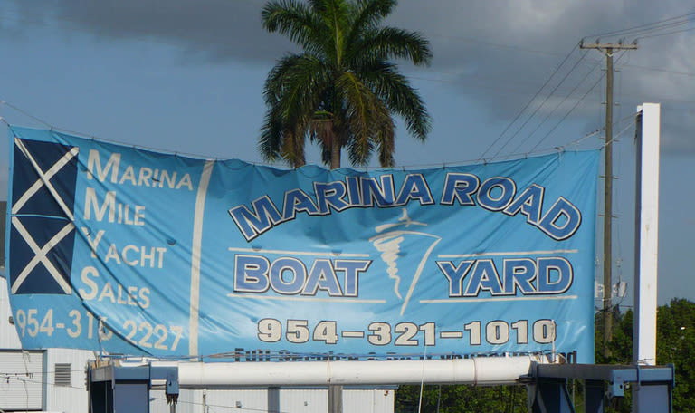 Welcome sign at Marina Road Boat Yard in Ft. Lauderdale, Florida