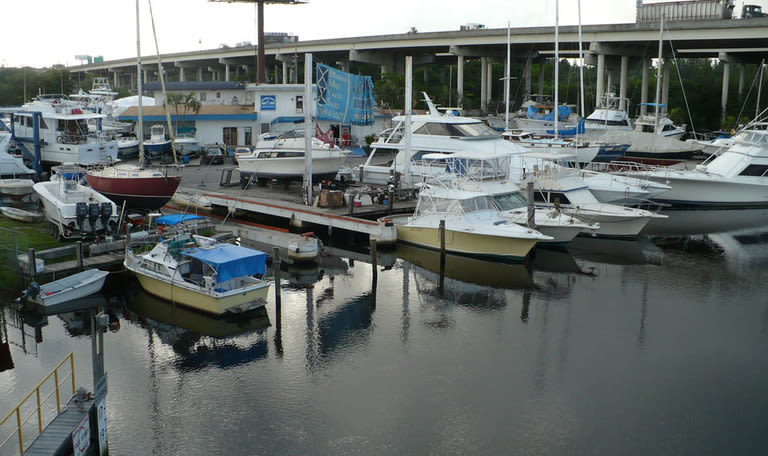 Wet slips at Marina Road Boat Yard in Ft. Lauderdale, Florida