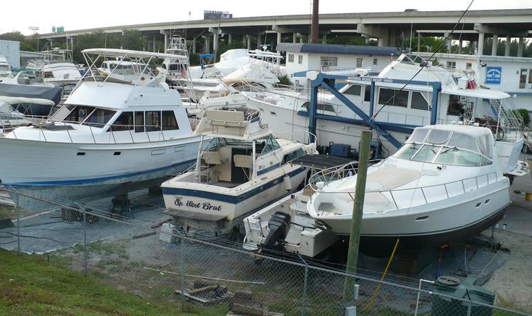 Yachts moored at Marina Road Boat Yard in Ft. Lauderdale, Florida