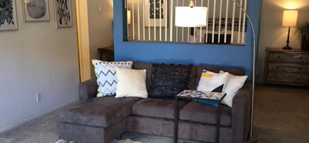 Spacious living room at Vista Alegre apartments in Santa Fe