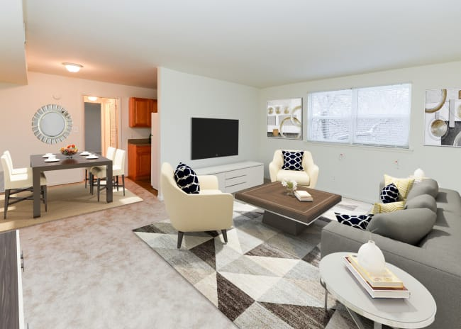 Living Room at Woodcrest Apartment Homes in Dover, DE