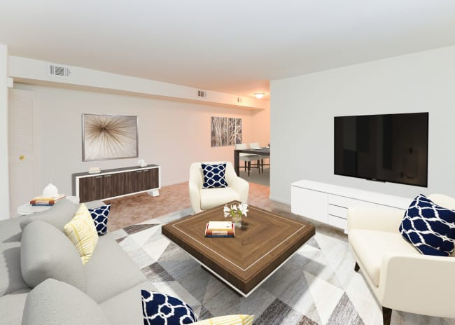 Living Room at Woodcrest Apartment Homes in Dover, Delaware
