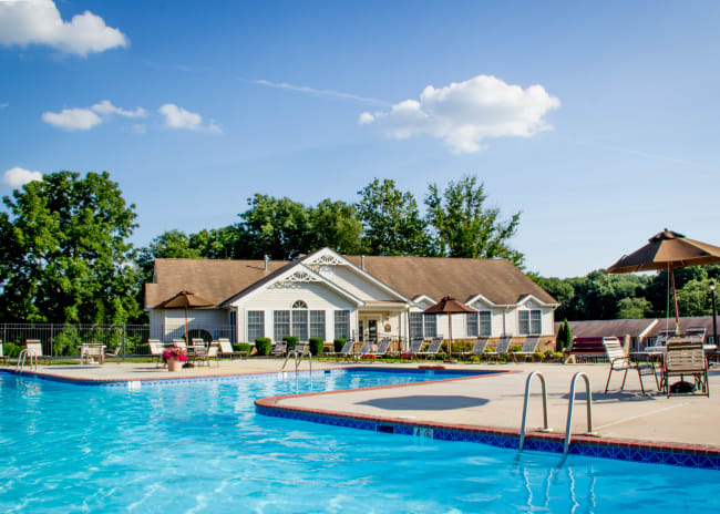 Sparkling resident pool at Marchwood Apartment Homes in Exton, Pennsylvania.