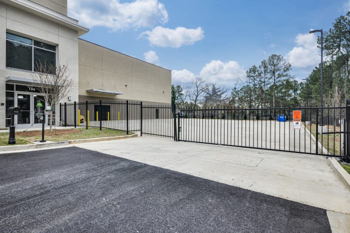 Front gate at Space Shop Self Storage in Smyrna, Georgia, bright interior storage units