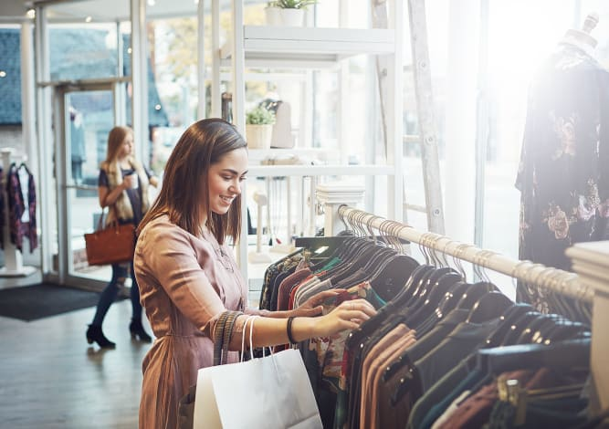 Resident shopping for clothes near Riverside St. Johns in Jacksonville, Florida