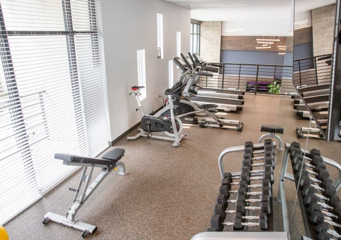 Clean gym area at Village 21 in Nashville, Tennessee