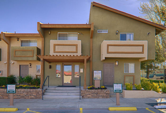 Exterior view of the leasing office at Woodlands West Apartment Homes in Lancaster, CA