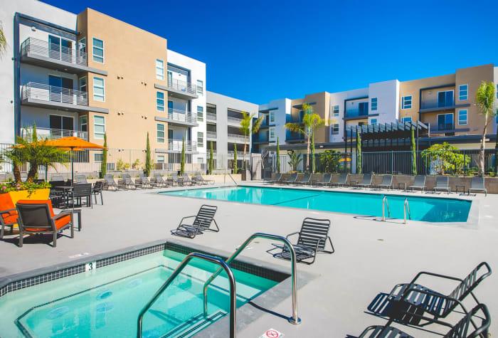 Spa near the swimming pool at IMT Sherman Circle in Van Nuys, California