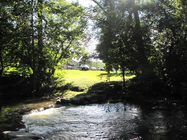 Beautiful natural pond at Braeside Apartments in Marcellus, NY