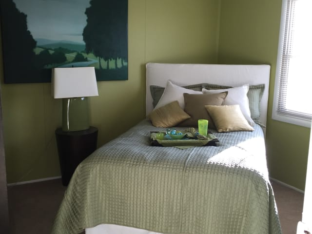 Bedroom with a green bed and paint