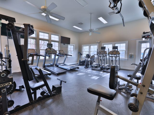 Stay healthy in the St. Mary's Landing Apartments & Townhomes fitness center in Lexington Park