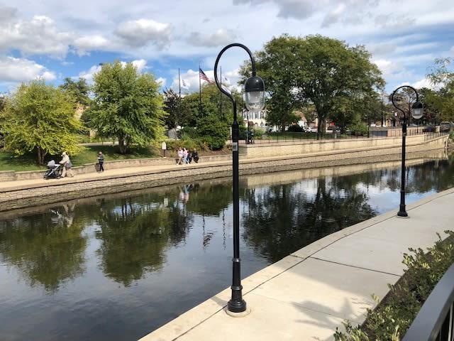 A scenic view of the DuPage River near Avenida Naperville in Naperville, Illinois