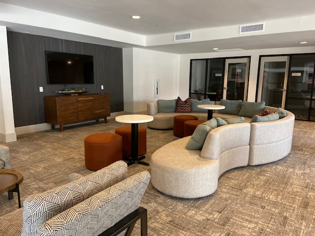 TV And Couch In Resident Clubhouse At  The District at Chandler In Chandler, Arizona