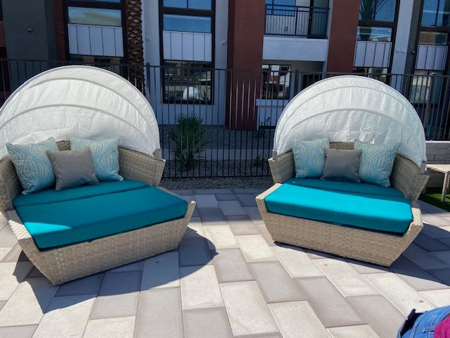 Shaded Poolside Seating At The District at Chandler In Chandler, Arizona