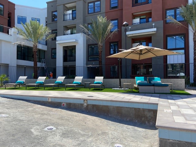 Lounge Poolside Seating At The District at Chandler In Chandler, Arizona