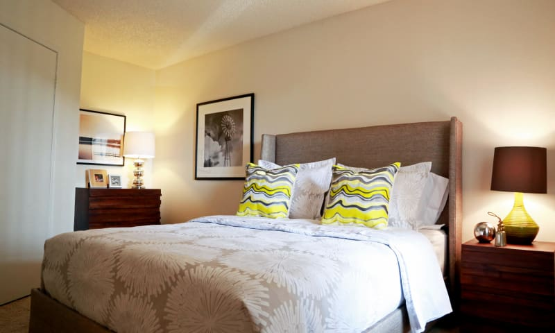 Well decorated bedroom at Keystone Apartments in Northglenn, Colorado