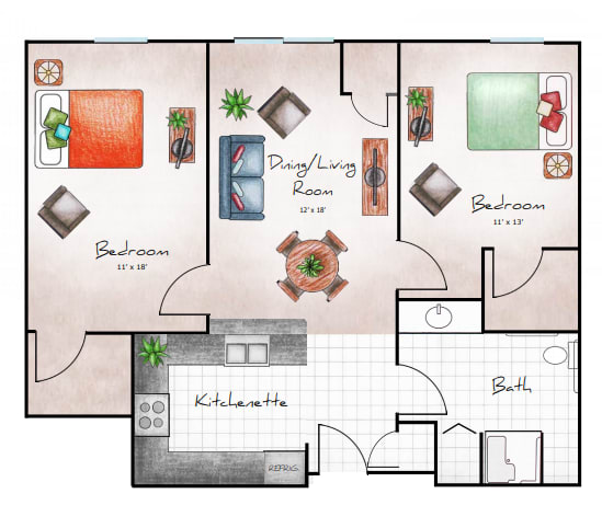 Two Bed / One Bath, 941 SF NET floor plan