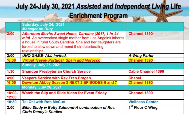 Sample activity calendar at The Columbia Presbyterian Community