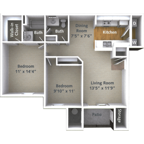 2 Bedroom 1.5 Bath Floor Plan at Willow Run Village Apartments