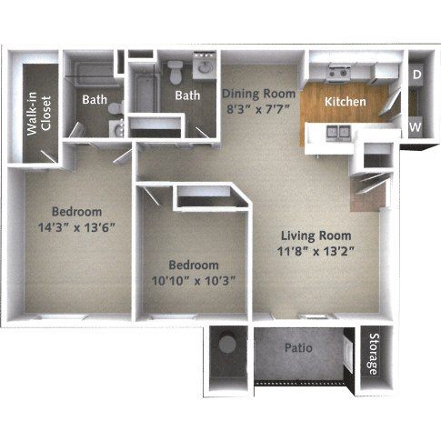 2 Bedroom 1 Bath Floor Plan at Willow Run Village Apartments