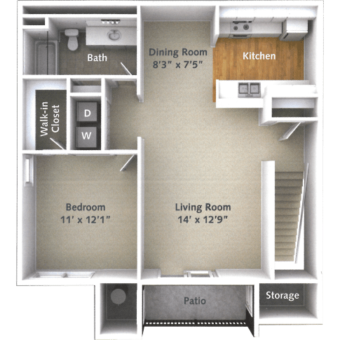 1 Bedroom, 1 Bath Floor Plan at Willow Run Village Apartments