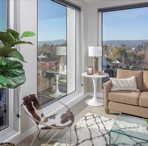 Bright, spacious living room at Sandy Fifty One in Portland, Oregon