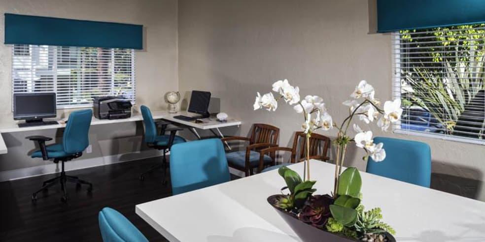 Business center at Avana La Jolla Apartments