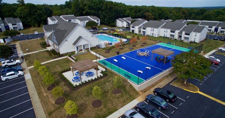 Ariel view of new renovations at Residences at Crawford Farms in Portsmouth, VA