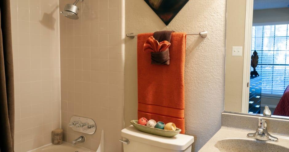 Bathroom at Promenade at Valley Ridge in Irving, Texas