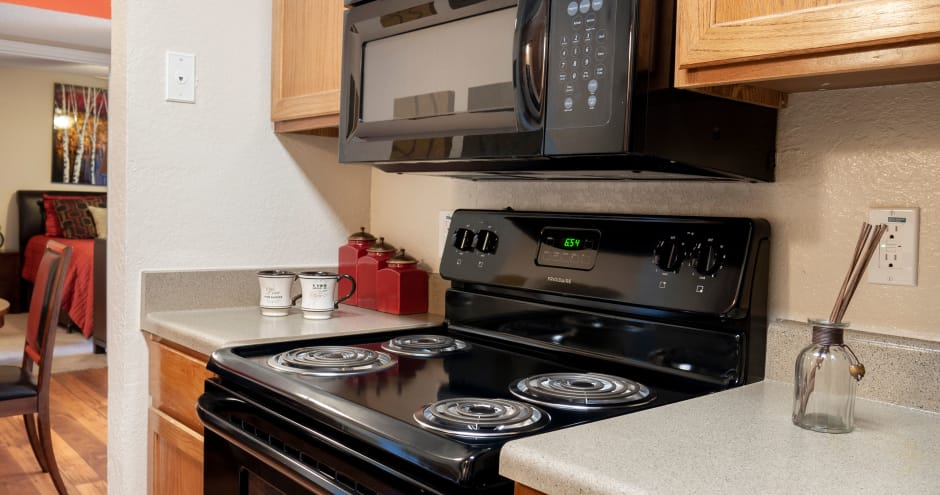 Kitchen appliances at Promenade at Valley Ridge in Irving, Texas