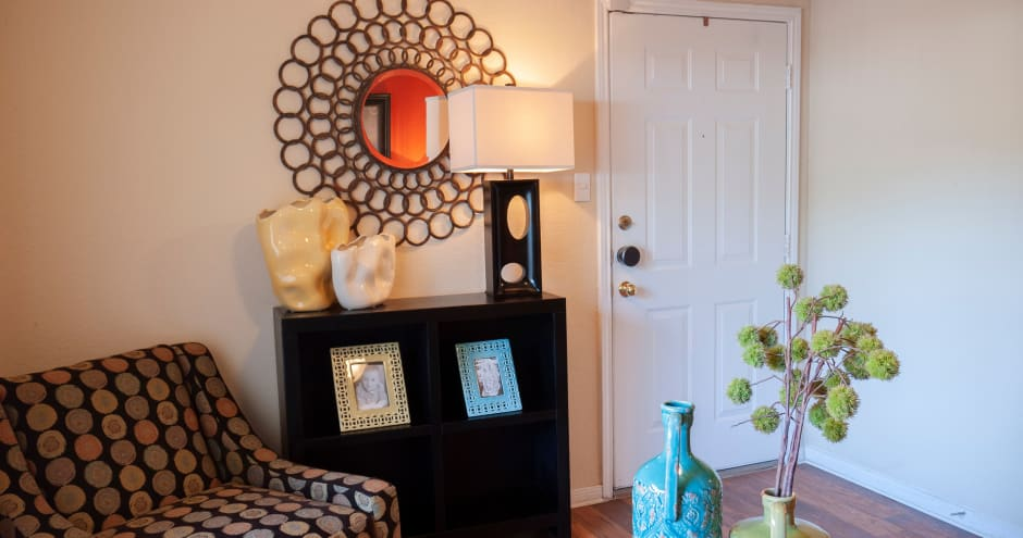 Living room at Promenade at Valley Ridge in Irving, Texas