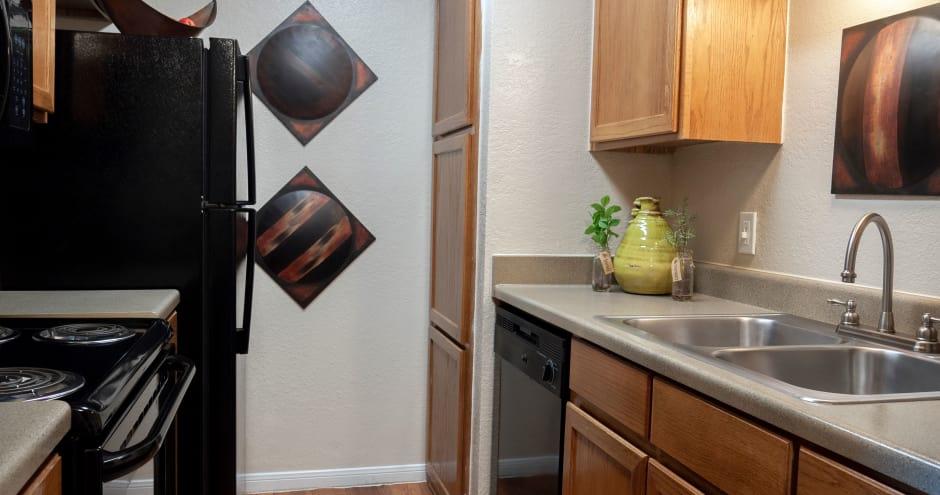 Kitchen at Promenade at Valley Ridge in Irving, Texas