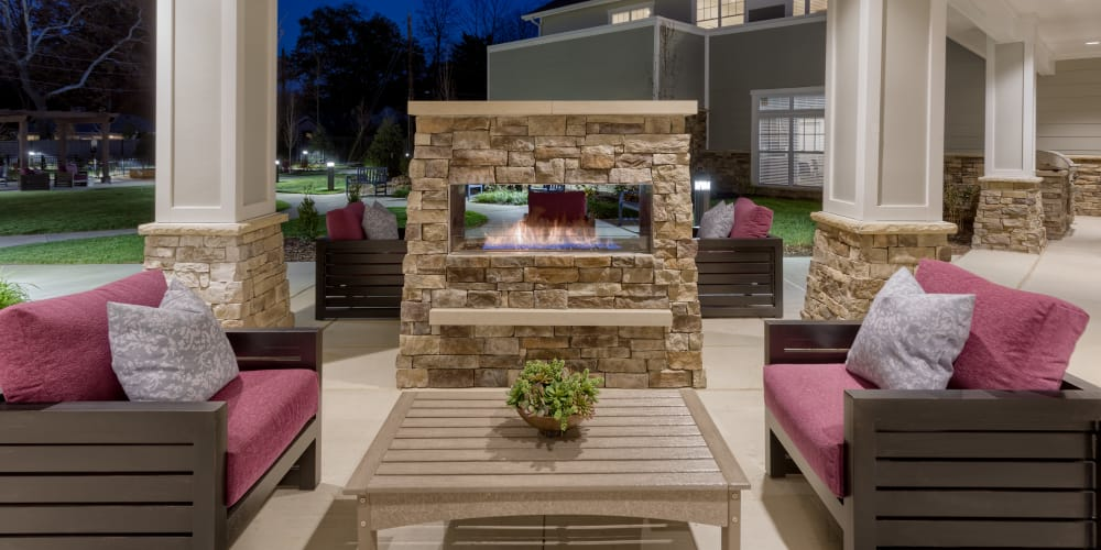 Beautiful outdoor fireplace at Stonecrest of Meridian Hills in Indianapolis