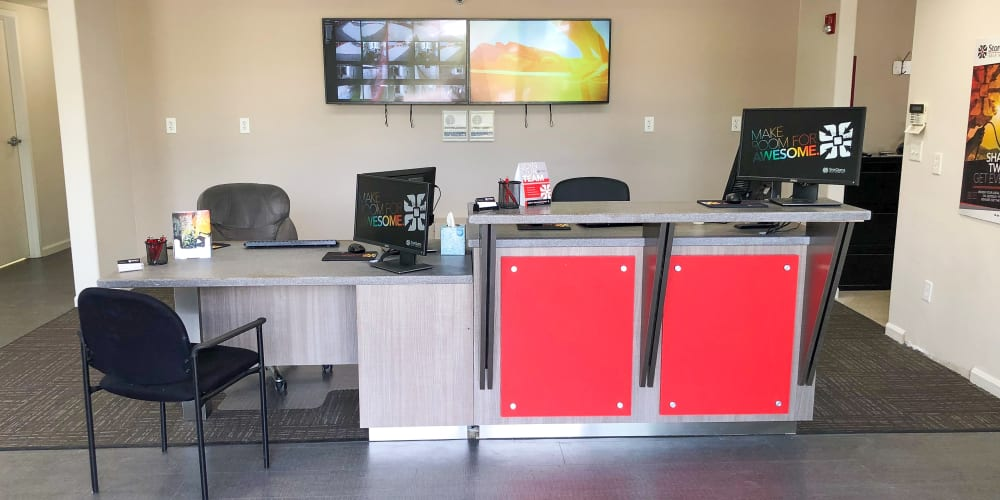 Security desk at StorQuest Self Storage in Elk Grove, California