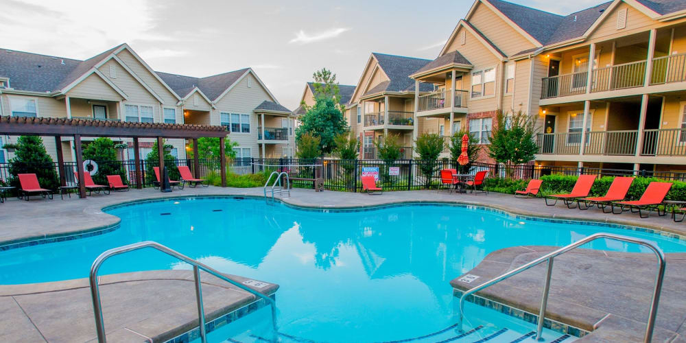 The community pool at Nickel Creek Apartments in Tulsa, Oklahoma