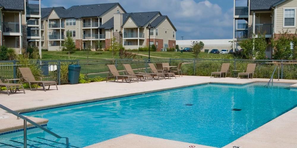 A large community pool at Villas at Stonebridge in Edmond, Oklahoma