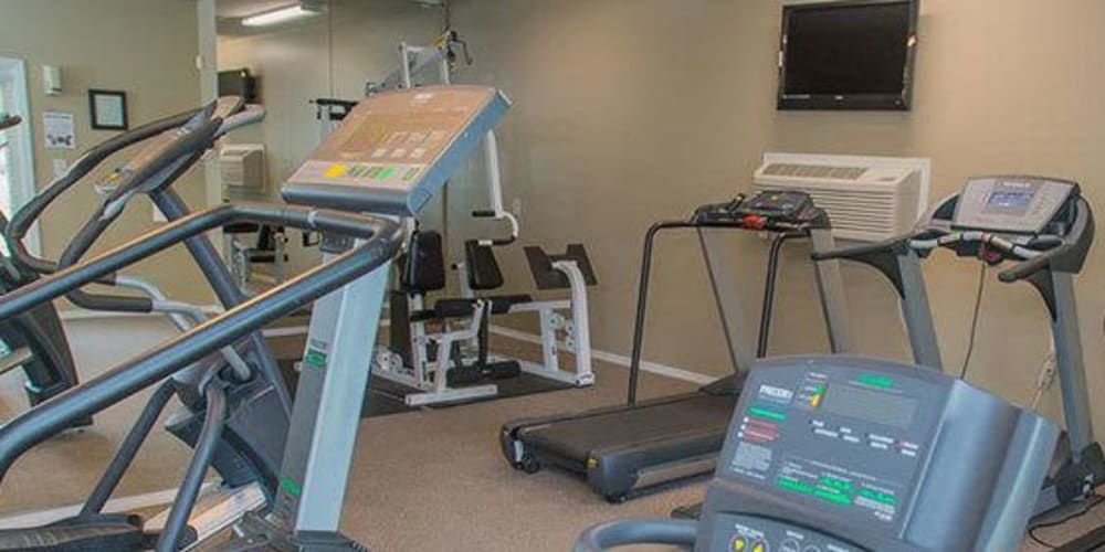 The fitness center at The Courtyards in Tulsa, Oklahoma